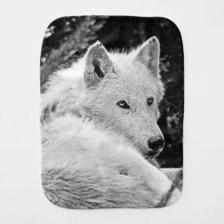 Stunning White Wolf Burp Cloth