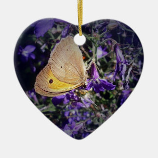 Stunning Yellow Butterfly on Lavender. Christmas Ornament