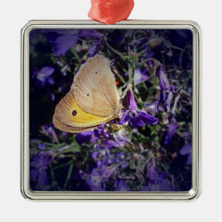 Stunning Yellow Butterfly on Lavender. Silver-Colored Square Decoration