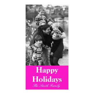 Stunningly Vivacious Pink Color Customizable Photo Card Template