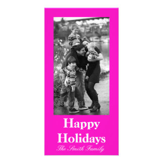 Stunningly Vivacious Pink Color Personalized Photo Card