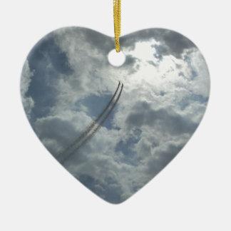 Stunt Flying Demonstration Ceramic Heart Decoration