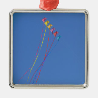 Stunt Kite Flying in the Sky Square Metal Christmas Ornament