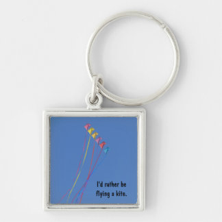 Stunt Kite Flying in the Sky Silver-Colored Square Key Ring