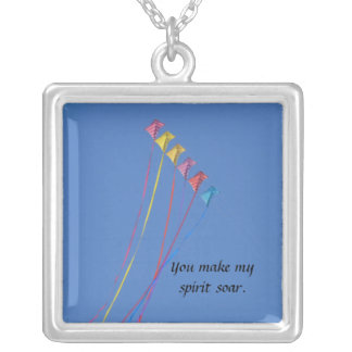 Stunt Kite Flying in the Sky Silver Plated Necklace