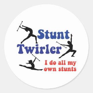 Stunt Twirler Round Stickers