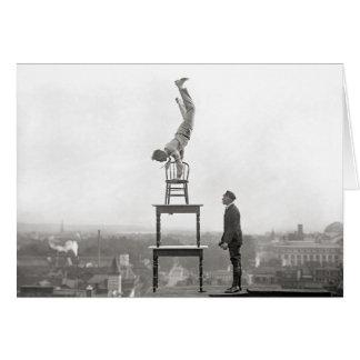 Stuntman Performs Balancing Act, 1917 Greeting Card