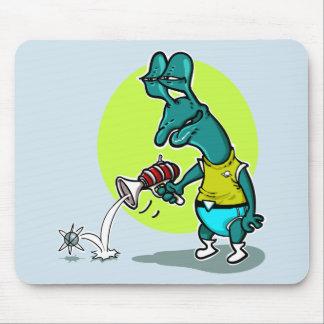 stupid alien cartoon style funny illustration mouse mat