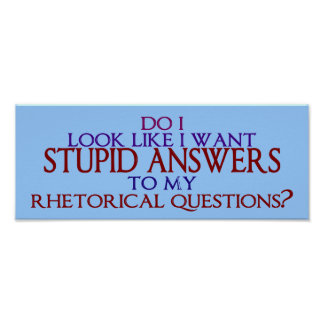 Stupid Answers to my Rhetorical Questions? Poster