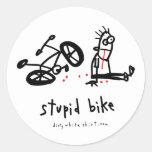 Stupid Bike Round Stickers