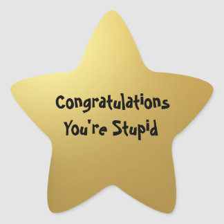 Stupid Gold Star Sticker