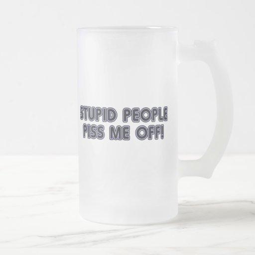 Stupid People Frosted Glass Mug