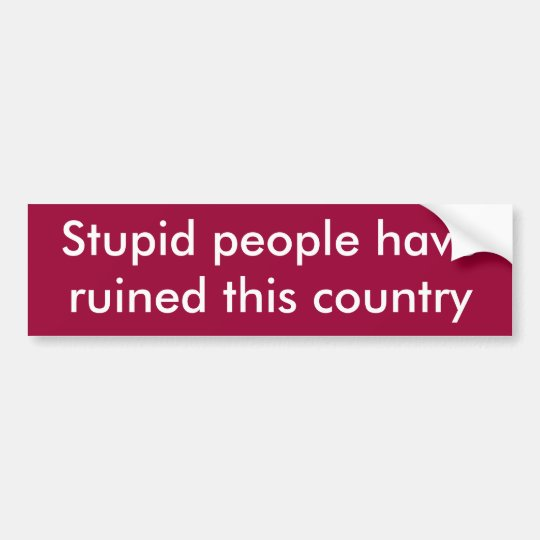 Stupid people have ruined this country bumper sticker