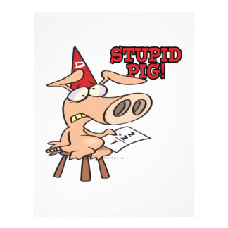 stupid pig dunce hog cartoon 21.5 cm x 28 cm flyer
