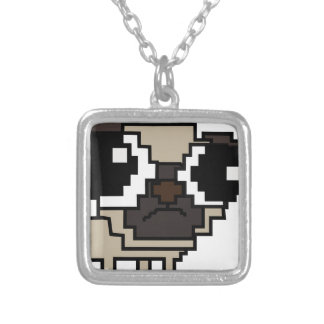 stupid pixel pug silver plated necklace