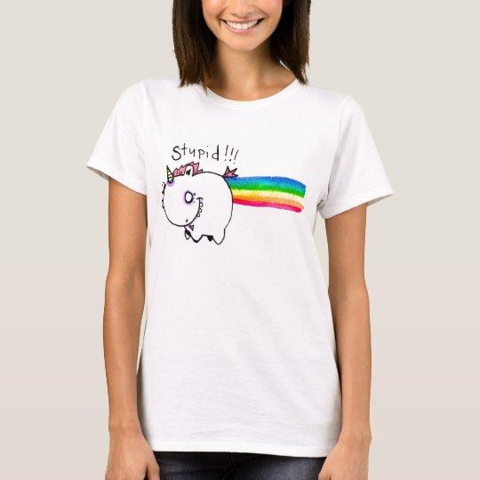 Stupid Unicorn with Rainbow by Emi Boz T-Shirt