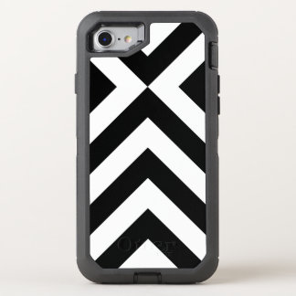 Sturdy Black and White Chevrons OtterBox Defender iPhone 7 Case