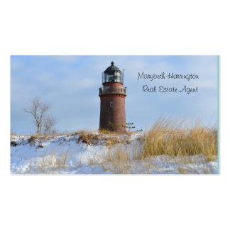 Sturdy Lighthouse on a Rocky Coast in Winter Pack Of Standard Business Cards