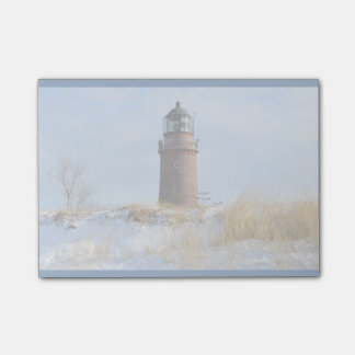 Sturdy Lighthouse on a Rocky Coast in Winter Post-it® Notes