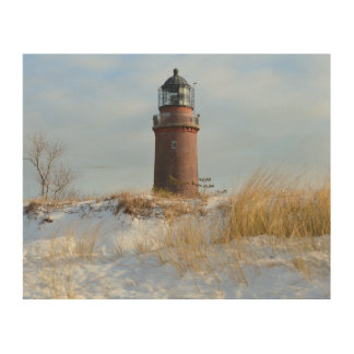 Sturdy Lighthouse on a Rocky Coast in Winter Wood Canvas