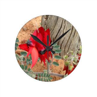 Sturt's Desert Pea wall clock