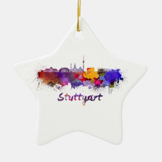 Stuttgart skyline in watercolor ceramic star decoration