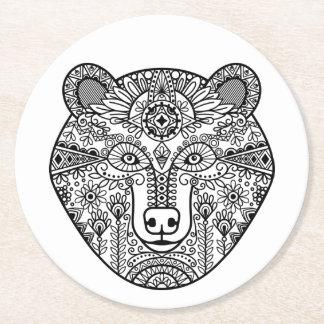 Style Bear Head Round Paper Coaster