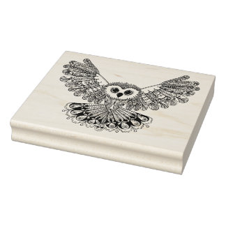 Style Black Owl Rubber Stamp