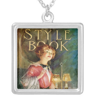 Style Book Square Pendant Necklace