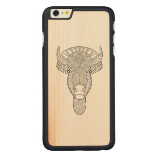 Style Bull Head Carved Maple iPhone 6 Plus Case