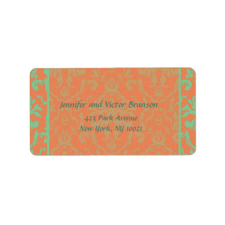 Style -Damask orange n green address label