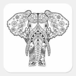 Style Elephant Square Sticker