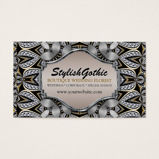 Style Fusion Silver Black Gold Baroque BizCards Business