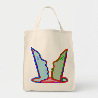 Style: Grocery Tote SWEET HEART CARTOON FACES Grocery Tote Bag