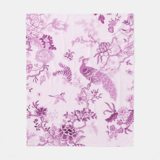 'Style' Peacock & Floral_MED Tranquil Fushia Fleece Blanket