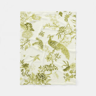 'Style' Peacock & Floral_ Tranquil Olive_Small Fleece Blanket