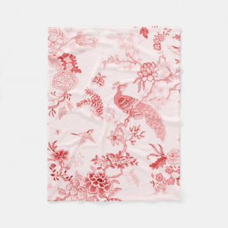 'Style' Peacock & Floral_ Tranquil Rose Fleece Blanket