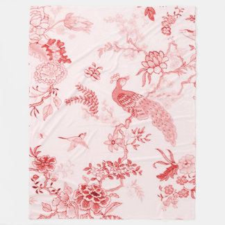'Style' Peacock & Floral_ Tranquil Rose_Large Fleece Blanket