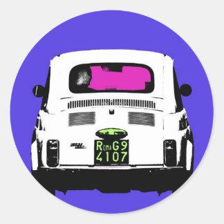 style pop art Fiat 500 in Rome Round Sticker