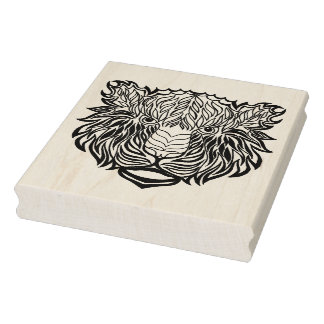Style Tiger Head Rubber Stamp
