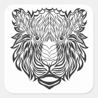 Style Tiger Head Square Sticker