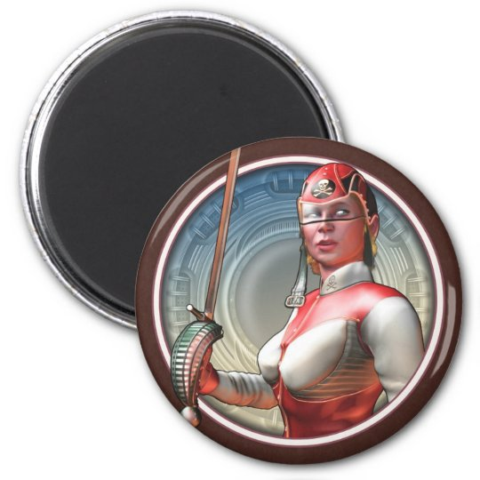 Stylin' Space Pirate Round Magnet