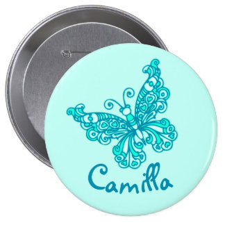 Stylised aqua butterfly art name button