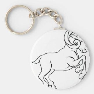 Stylised aries ram illustration basic round button key ring