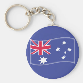 Stylised Aussie Australian flag on a blue backgrou Basic Round Button Key Ring