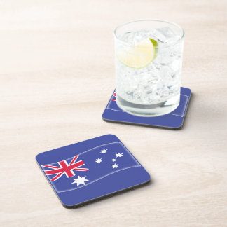 Stylised Aussie Australian flag on a blue backgrou Coaster
