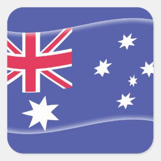 Stylised Aussie Australian flag on a blue backgrou Square Sticker