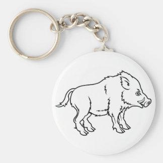 Stylised boar illustration basic round button key ring