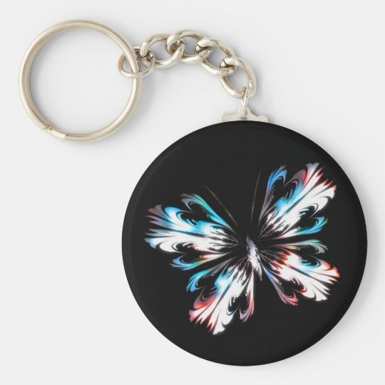 Stylised butterfly 2 basic round button key ring