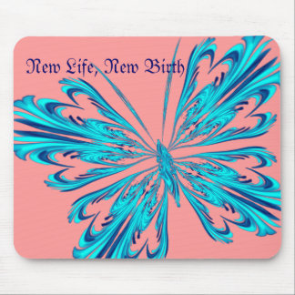 Stylised butterfly in aqua blue mouse mat